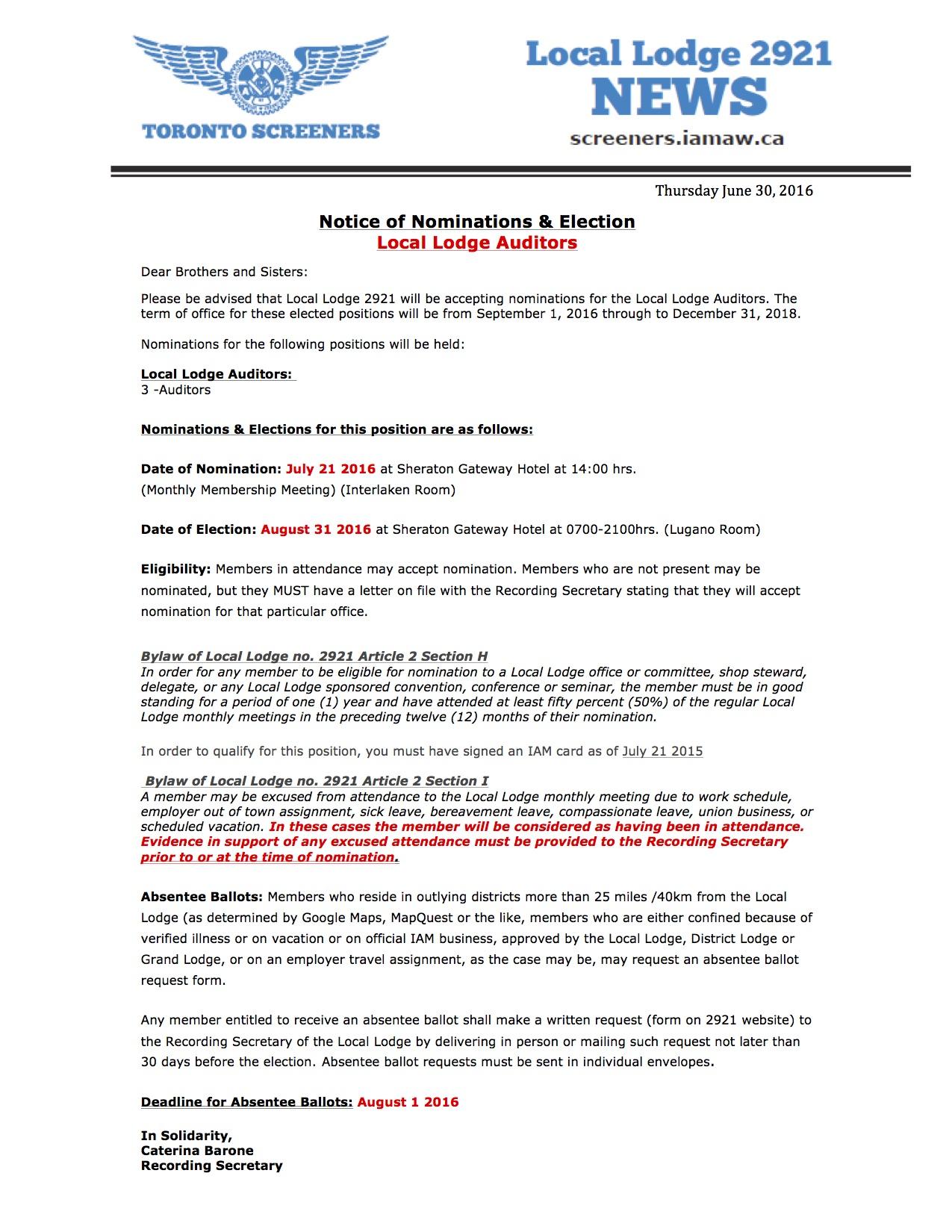 Notice-Nominations Auditor