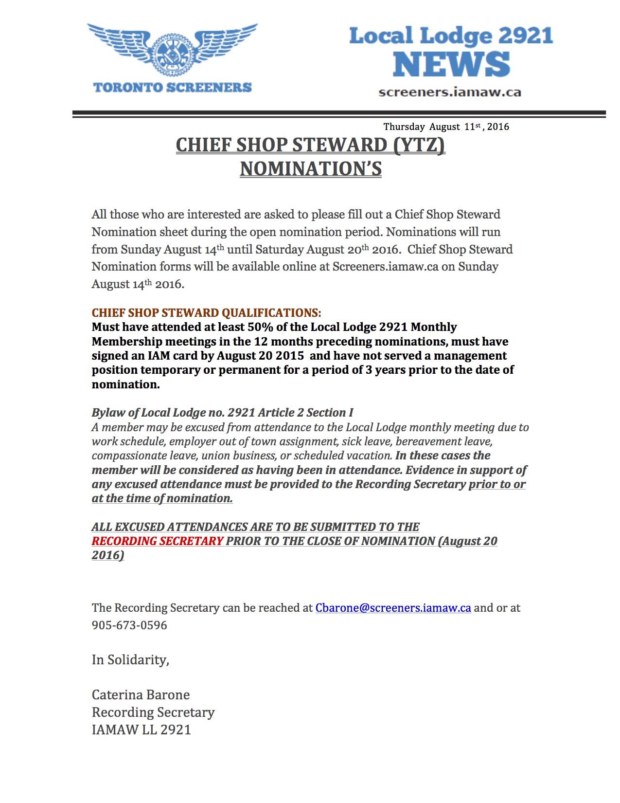 Chief Shop Steward Nominations YTZ