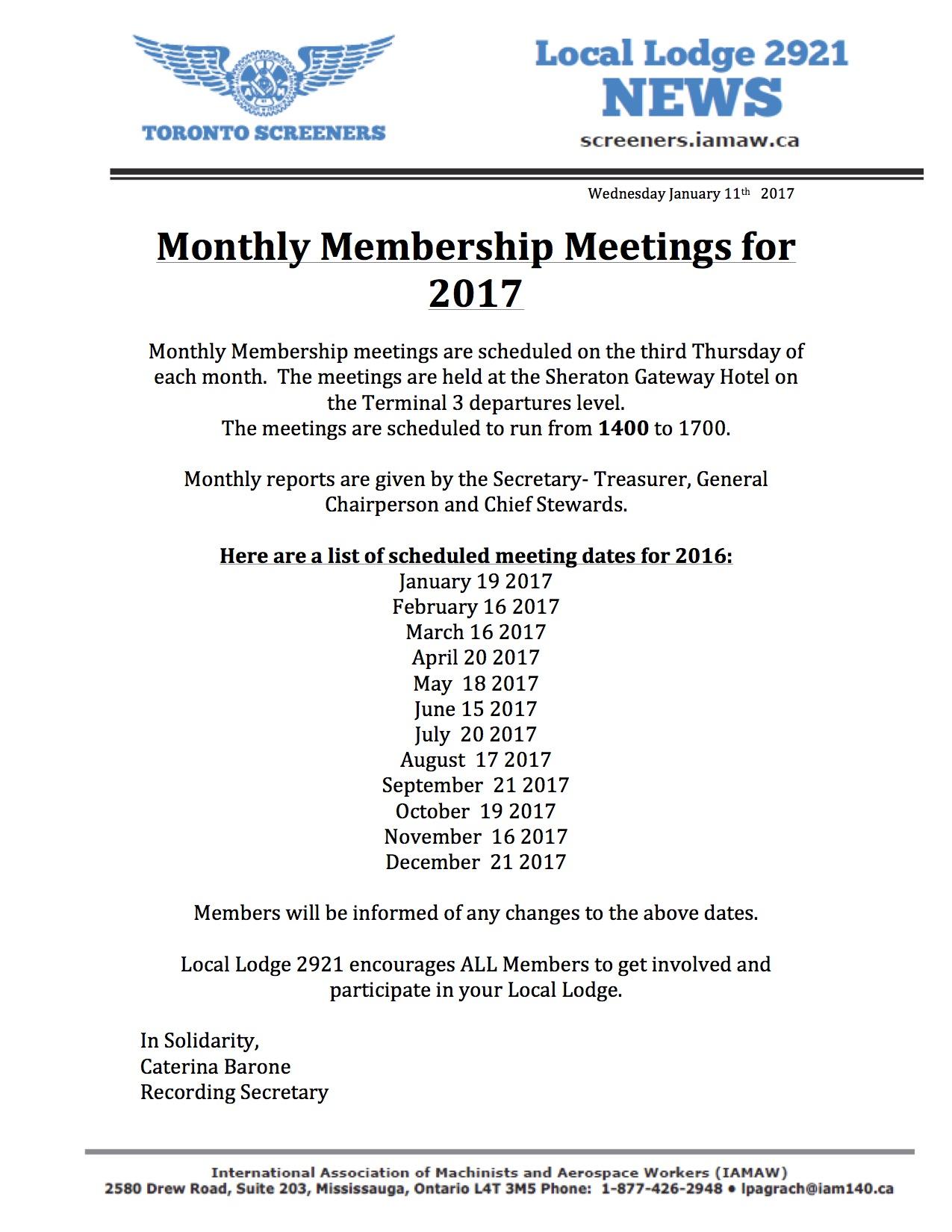 2017 Monthly Membership Meeting