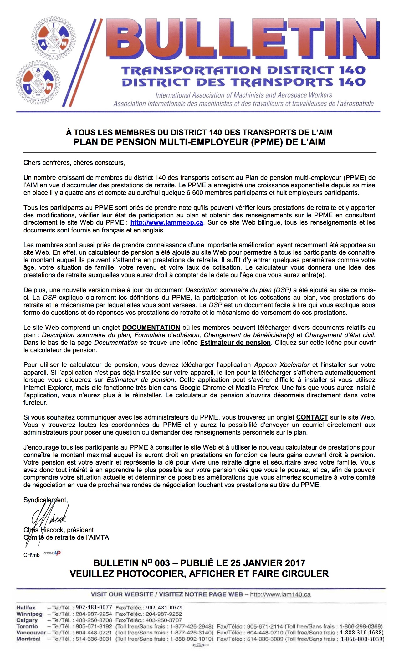 BULLETIN 003 - DISTRICT 140 MULTI-EMPLOYER PENSION PLAN (Français)