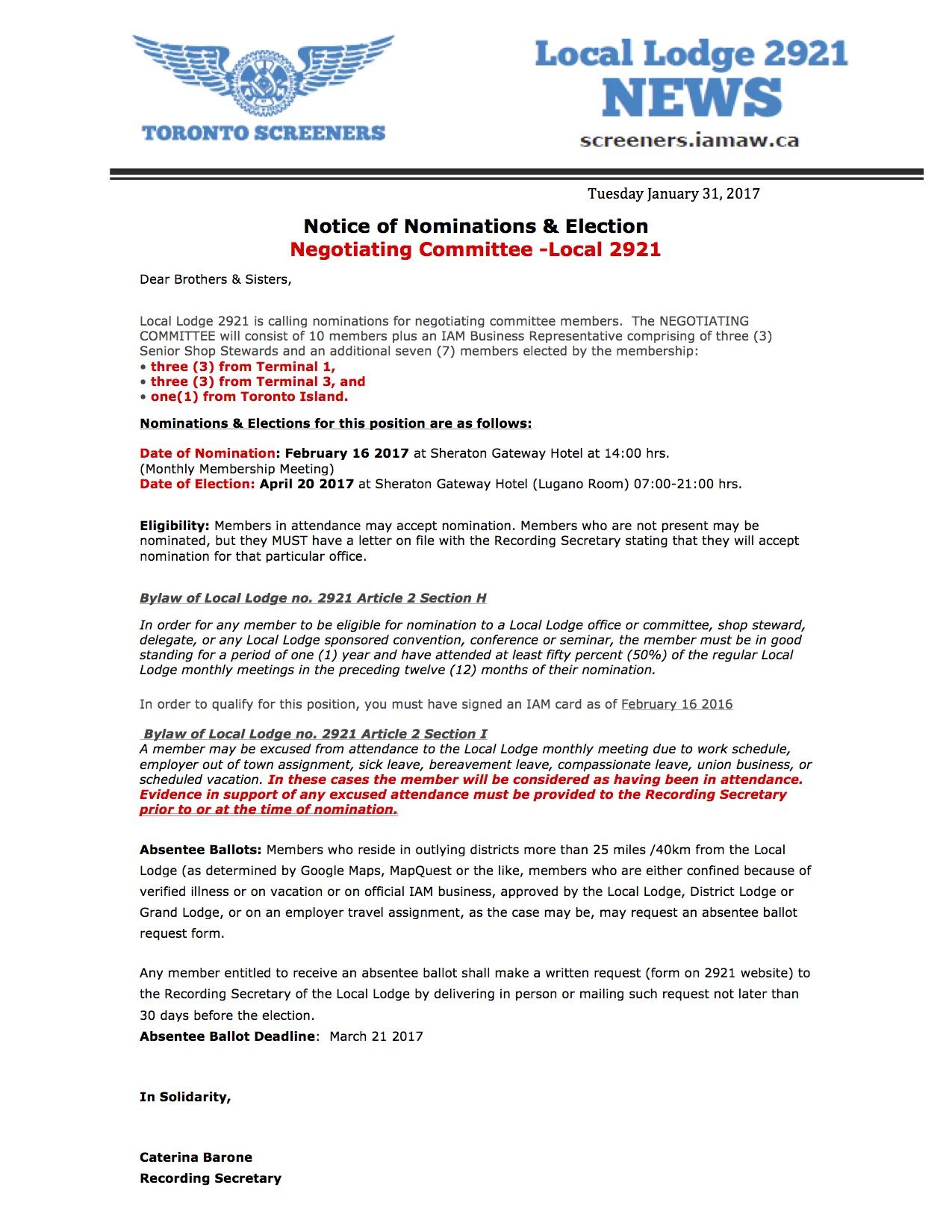 Notice-Nominations CBA Negotiations Committee
