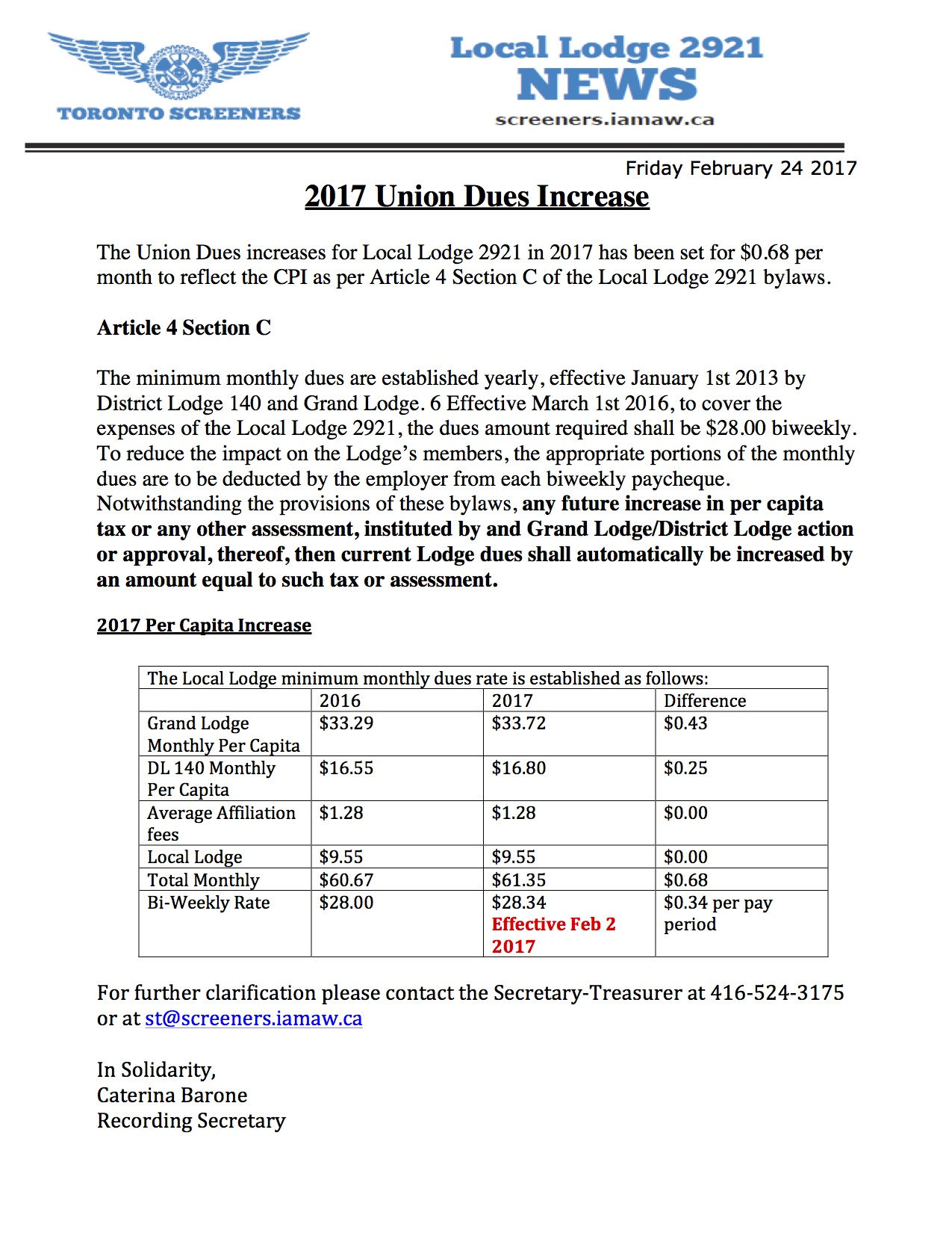 Union Dues increase- 2017