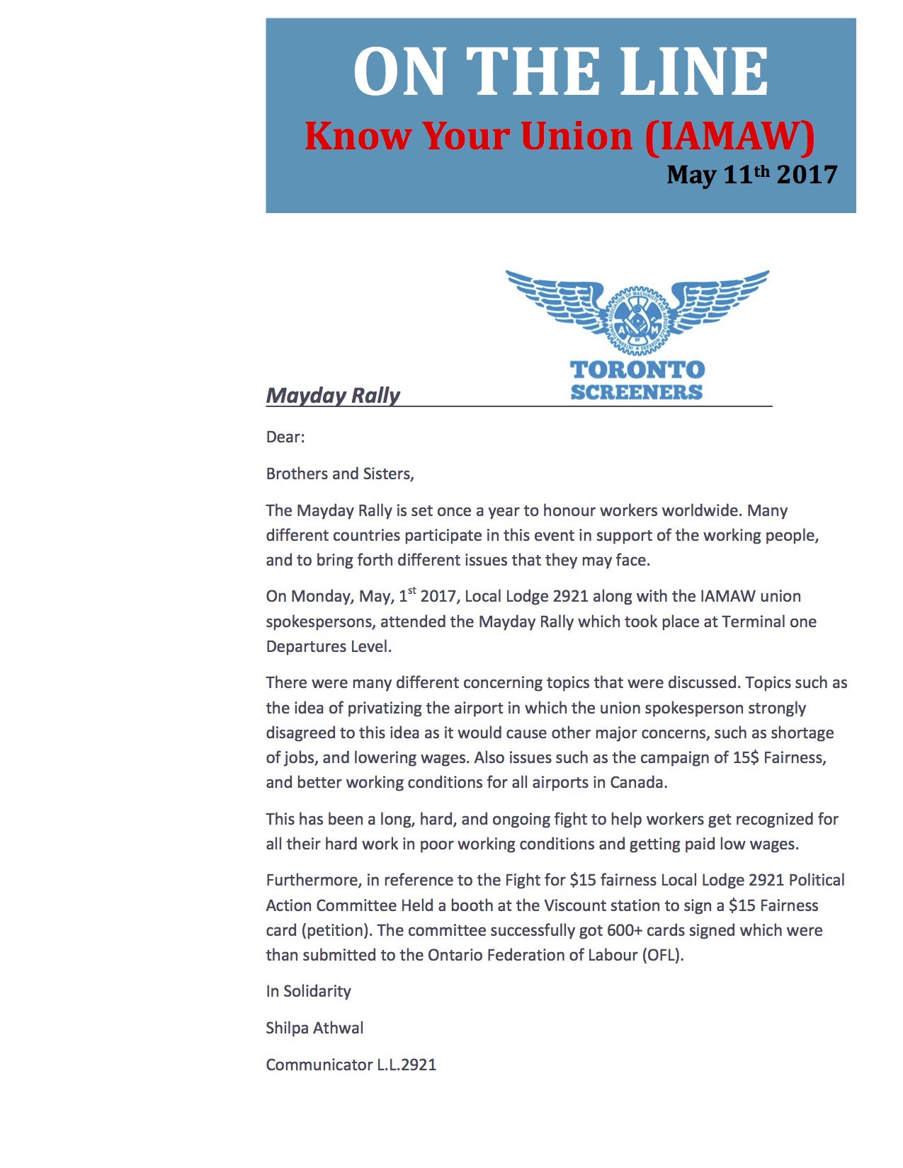 Newsletter Mayday Rally